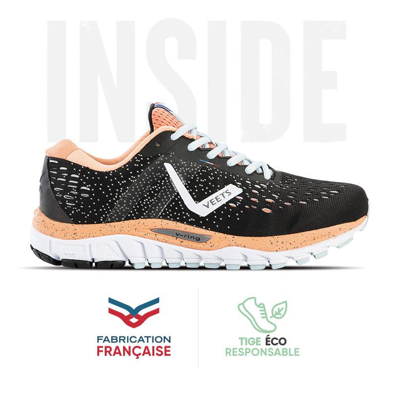 Chaussure running femme Inside MIF 3 noir-corail